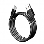 SuperCalla Magnetisk USB-C kabel, 2A, 1.8m, svart