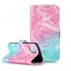 Trendigt läderfodral ställ, marmor, iPhone 11 Pro Max, rosa/blå