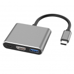 USB-C till HDMI 3-i-1 USB-Adapter, PD (Power Delivery), silver
