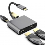 USB-C till HDMI Adapter, 2xUSB3.0/USB 3.1 with PD, grå