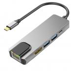 USB-C till HDMI/2xUSB3.0/USB3.1/Ethernet, grå