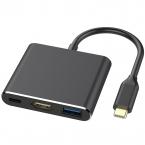 USB-C till HDMI/USB3.1 USB-hubb med PD, 4K HD, svart