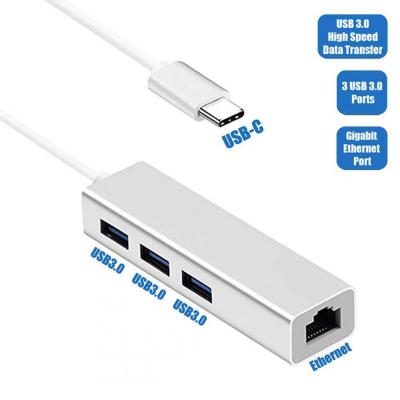 USB‑hubb med 3 USB‑uttag + RJ45 (Gigabit Ethernet), 5Gbp/s