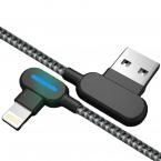 Vinklad Lightning-kabel med snabbladdning, LED, 2.4A, 0.25m