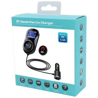 FM‑sändare med Bluetooth‑handsfree och billaddare, LCD‑skärm