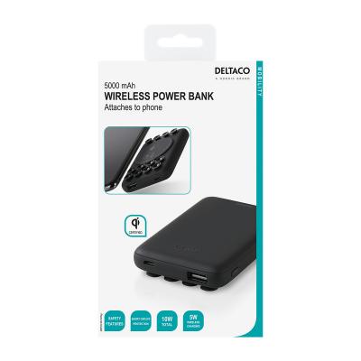 DELTACO Powerbank med både USB‑A och USB‑C, PD, 5000mAh, 10W