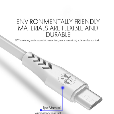 iPaky micro‑USB kabel, Quick charge 3.6A, 1m, vit