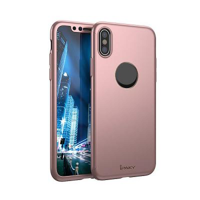 iPaky ultratunt helomslutande skal till iPhone X/XS, rosa/guld