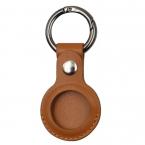 Nyckelringhållare i läder till Apple Airtags, brun